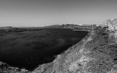 Santorini island b&w